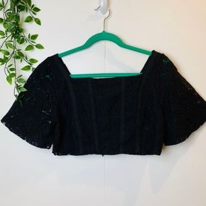 NWT ZARA Square Neck Black Lace Crop Top